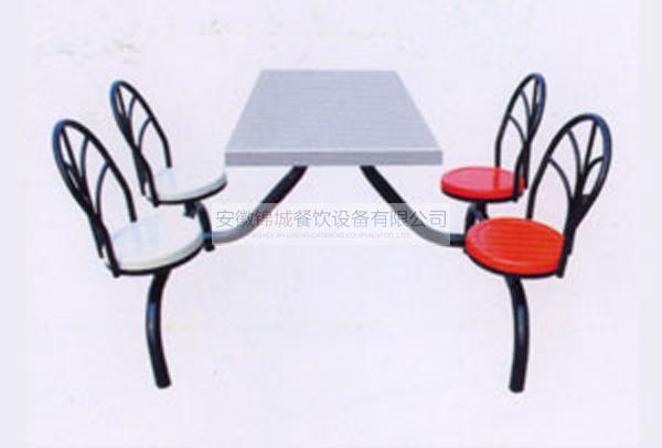四人圆钢铁架旋转座椅餐桌