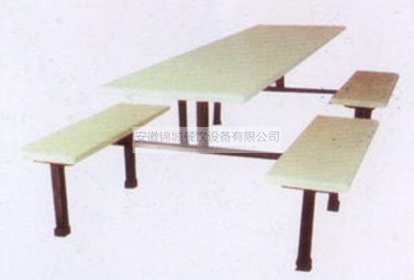 八人连体排椅餐桌