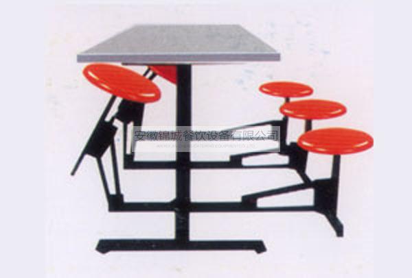 六人连体折叠圆座餐桌