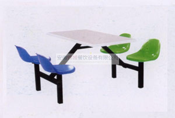 四人铁架斜撑玻璃钢座餐桌